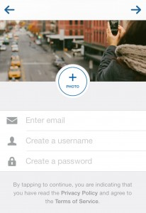 Instagram Sign Up screen enter information