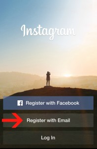 Instagram Sign Up screen